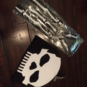 Halloween costume skeleton hat cap skull suspender